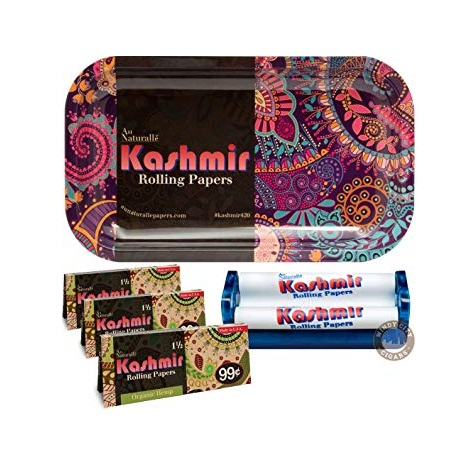 Kashmir Hippie Bundle: Tray, Rolling Papers, and Hand Roller