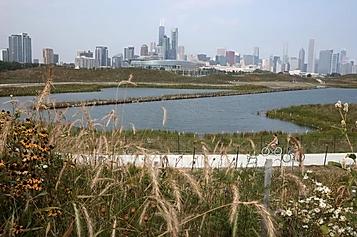 Button to visit chicago skyline