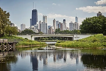 View of downtown chicago water